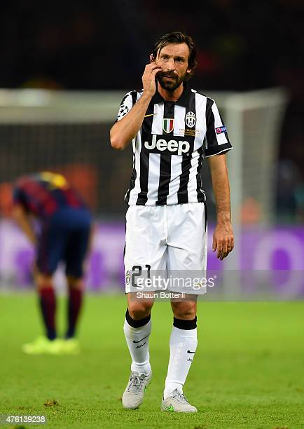 Andrea Pirlo of Juventus looks dejected after the UEFA Champions League Final between Juventus and FC Barcelona at Olympiastadion on June 6 2015 in...
