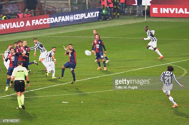 Andrea Pirlo of Juventus scores the opening goal during the Serie A match between Genoa CFC and Juventus at Stadio Luigi Ferraris on March 16 2014 in...