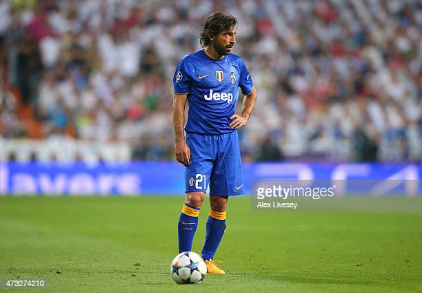 Andrea Pirlo of Juventus waits to take a free kick during the UEFA Champions League Semi Final second leg match between Real Madrid CF and Juventus...