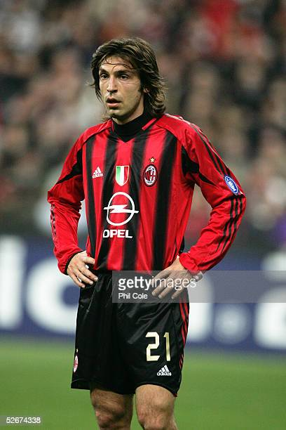 Andrea Pirlo of Milan in action during the Champions League Quarter Final First leg match between AC Milan and Inter Milan at the San Siro on April 6...