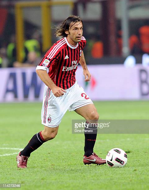 Andrea Pirlo of Milan in action during the Serie A match between AC Milan and Cagliari Calcio at Stadio Giuseppe Meazza on May 14 2011 in Milan Italy