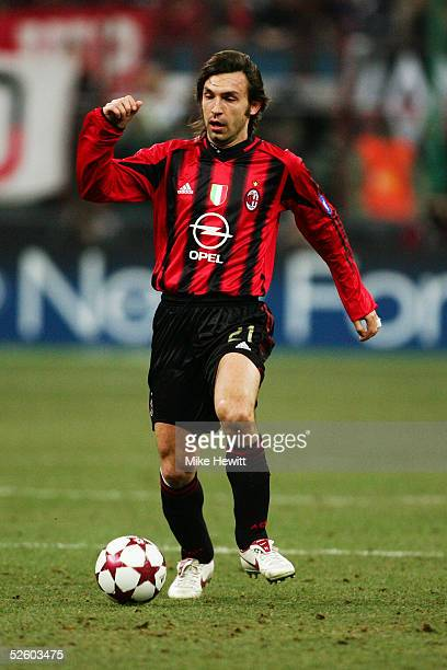 Andrea Pirlo of Milan in action during the UEFA Champions League match between AC Milan and Manchester United on March 8 2005 at the San Siro Stadium...