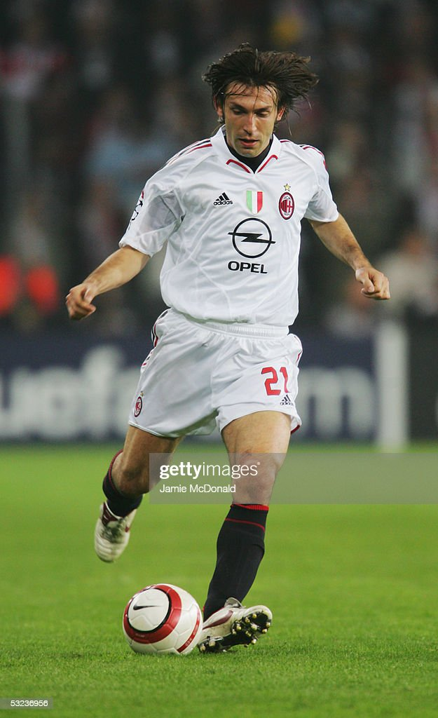 Andrea Pirlo of Milan in action during the UEFA Champions League semi-final, second leg match between PSV Eindhoven and AC Milan at the Phillips Stadium on May 4, 2005 in Eindhoven, Holland.
