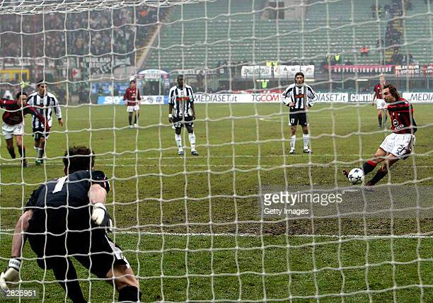 Andrea Pirlo of Milan misses a penalty during the Serie A match between AC Milan and Udinese at the Giuseppe Meazza Stadium December 21, 2003 in...