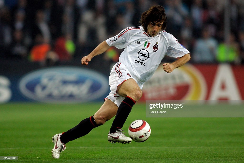 Andrea Pirlo of Milan runs with the ball during the Champions League semi final second Leg match between PSV Eindhoven and AC Mailand at the Philips Stadium on May 4, 2005 in Eindhoven, Netherlands. Despite losing to PSV Eindhoven 3-1, AC Milan advances to the final on the away goals rule.