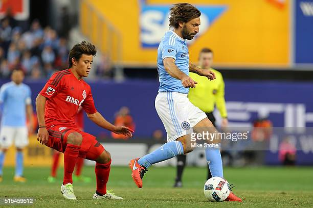 Andrea Pirlo of New York City FC carries the ball against Toronto FC at Yankee Stadium on March 13 2016 in the Bronx borough of New York City