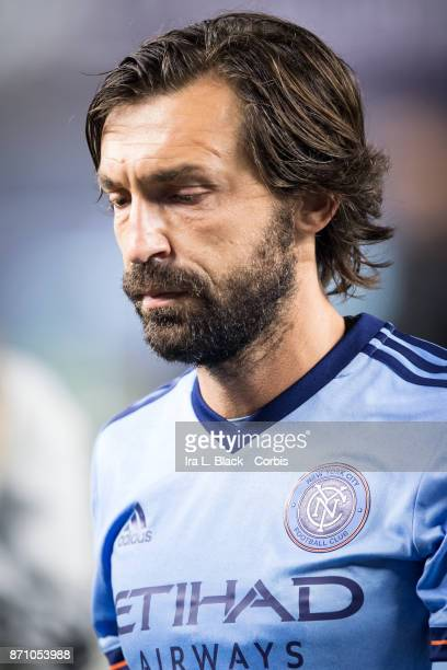 Andrea Pirlo of New York City FC during the Audi MLS Eastern Conference Semifinal Leg 2 match between New York City FC vs Columbus Crew at Yankee...