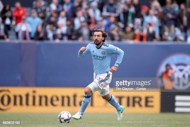 Andrea Pirlo of New York City FC in action during the New York City FC Vs San Jose Earthquakes regular season MLS game at Yankee Stadium on April 1...