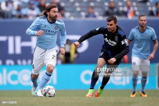 Andrea Pirlo of New York City FC is challenged by Chris Wondolowski of San Jose Earthquakes during the New York City FC Vs San Jose Earthquakes...