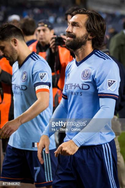 Andrea Pirlo of New York City FC leaves the field for the last time after the Audi MLS Eastern Conference Semifinal Leg 2 match between New York City...