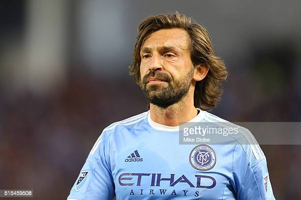 Andrea Pirlo of New York City FC looks on during the match against the Toronto FC at Yankee Stadium on March 13 2016 in the Bronx borough of New York...