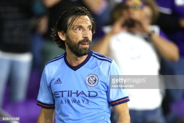 Andrea Pirlo of New York City FC prepares for a corner kick during a MLS soccer match between New York City FC and Orlando City SC at the Orlando...