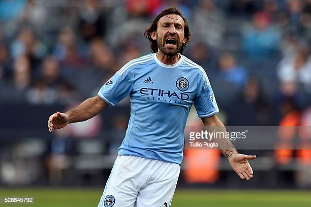 Andrea Pirlo of New York City FC reacts during MLB match between NEW York City FC and Vancouver Whitecaps at Yankee Stadium on April 30 2016 in New...