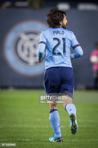 Andrea Pirlo of New York City FC runs back on defense during the Audi MLS Eastern Conference Semifinal Leg 2 match between New York City FC vs...