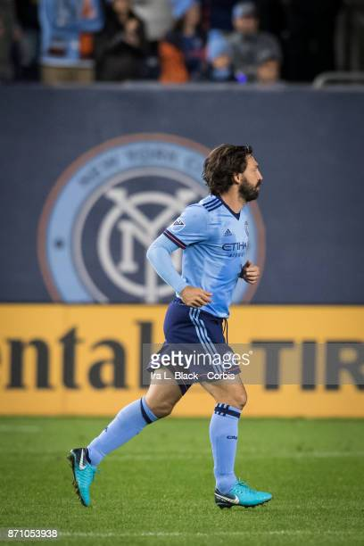 Andrea Pirlo of New York City FC takes the field for the last time during the Audi MLS Eastern Conference Semifinal Leg 2 match between New York City...