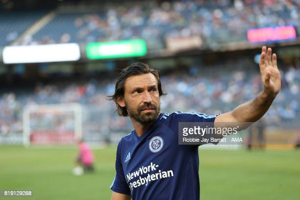 Andrea Pirlo of New York City waves during MLS fixture between Toronto FC and New York City FC at Yankee Stadium on July 19 2017 in New York City