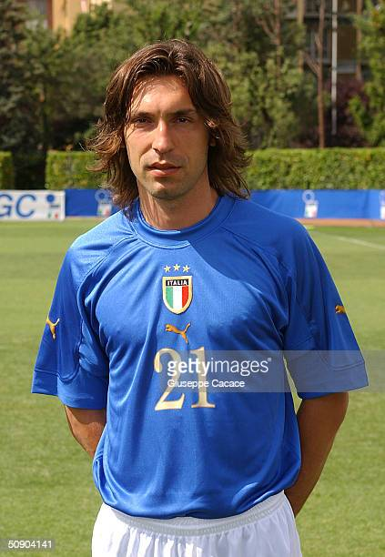 Andrea Pirlo of the Italian footlball team poses for a photographer on May 27 2004 at Coverciano sports ground in Florence Italy The Italian team...