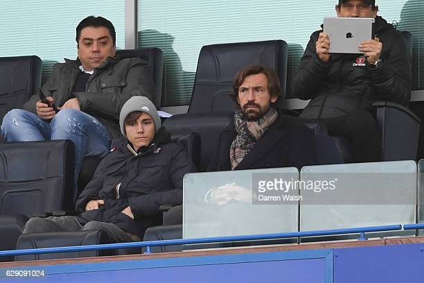 Andrea Pirlo of the New York City is seen in the stand prior to the Premier League match between Chelsea and West Bromwich Albion at Stamford Bridge...