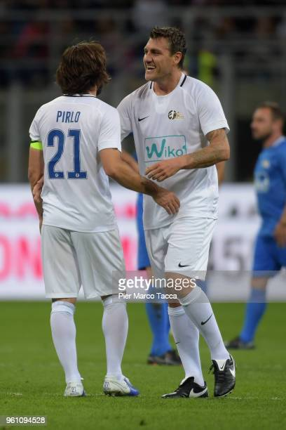 Andrea Pirlo of White Stars celebrates with CChristian Vieri during Andrea Pirlo Farewell Match at Stadio Giuseppe Meazza on May 21 2018 in Milan...