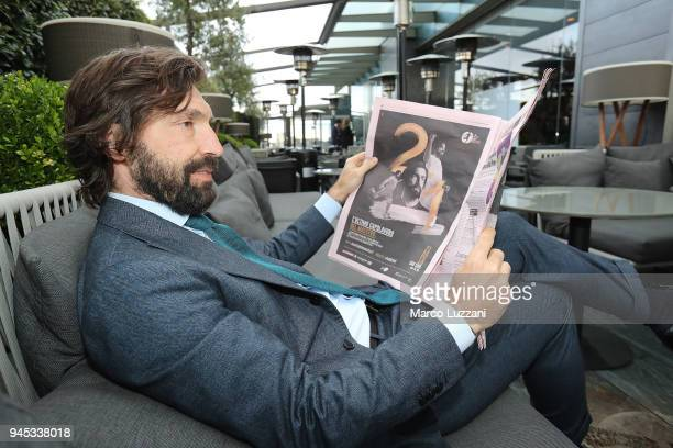 Andrea Pirlo poses during a press conference to announce Andrea Pirlo farewell match on April 12 2018 in Milan Italy