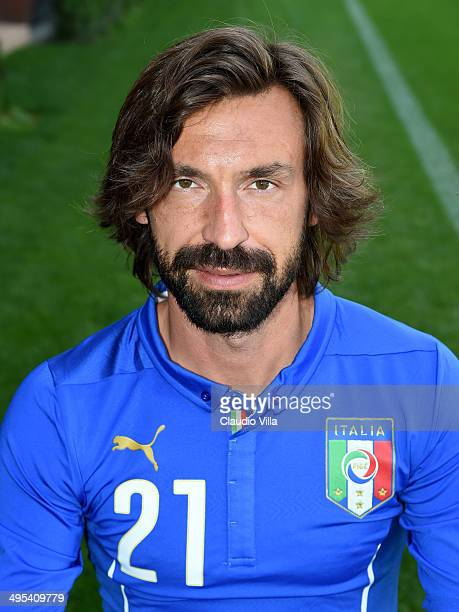 Andrea Pirlo poses during Italy Official Portraits for Brazil 2014 World Cup at Coverciano on June 3 2014 in Florence Italy