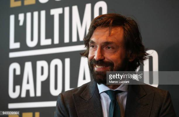 Andrea Pirlo speaks to the media during a press conference to announce Andrea Pirlo farewell match on April 12 2018 in Milan Italy