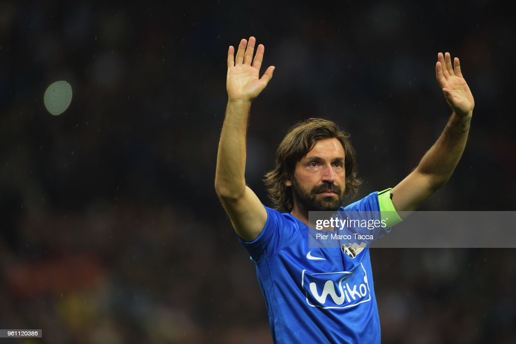 Andrea Pirlo waves as he leaves the field at the end of the Andrea Pirlo Farewell Match at Stadio Giuseppe Meazza on May 21, 2018 in Milan, Italy.