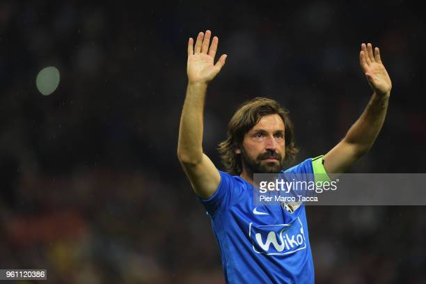 Andrea Pirlo waves as he leaves the field at the end of the Andrea Pirlo Farewell Match at Stadio Giuseppe Meazza on May 21 2018 in Milan Italy