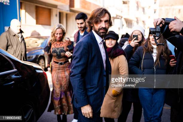 Andrea Pirlo wearing a blue suit is seen outside the Etro show during the Milan Men's Fashion Week on January 12 2020 in Milan Italy