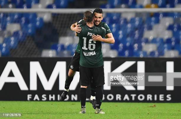 Andrea Poli and Nicola Sansone of Bologna FC celebrate the 12 goal scored by Nicola Sansone during the Serie A match between SSC Napoli and Bologna...