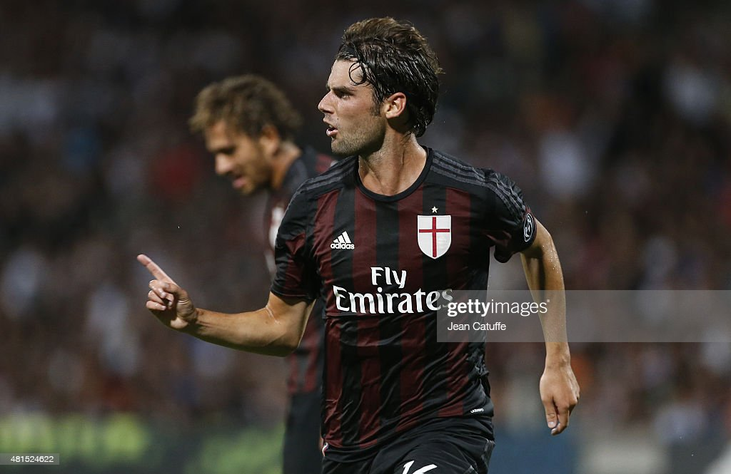Andrea Poli of AC Milan celebrates his goal during the friendly match between Olympic Lyonnais (OL) and Milan AC (AC Milan) at Stade de Gerland on July 18, 2015 in Lyon, France.