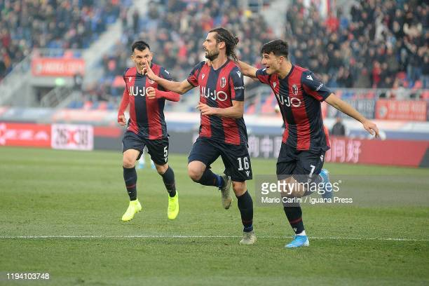 Andrea Poli of Bologna FC celebrates after scoring his team's second goal during the Serie A match between Bologna FC and Atalanta BC at Stadio...