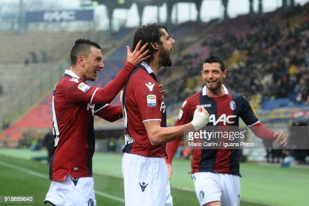 Andrea Poli of Bologna FC celebrates after scoring the opening goal during the serie A match between Bologna FC and US Sassuolo at Stadio Renato...