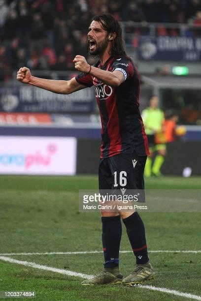 Andrea Poli of Bologna FC celebrates at the end of the Serie A match between Bologna FC and Brescia Calcio at Stadio Renato Dall'Ara on February 01...