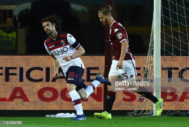 Andrea Poli of Bologna FC celebrates his goal during the Serie A match between Torino FC and Bologna FC at Stadio Olimpico di Torino on March 16 2019...