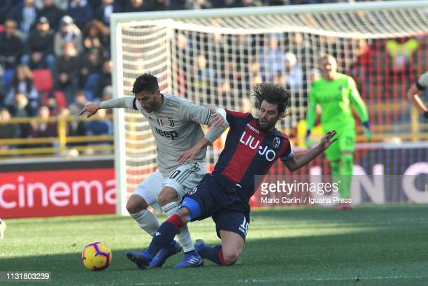 Andrea Poli of Bologna FC in action during the Serie A match between Bologna FC and Juventus at Stadio Renato Dall'Ara on February 23 2019 in Bologna...