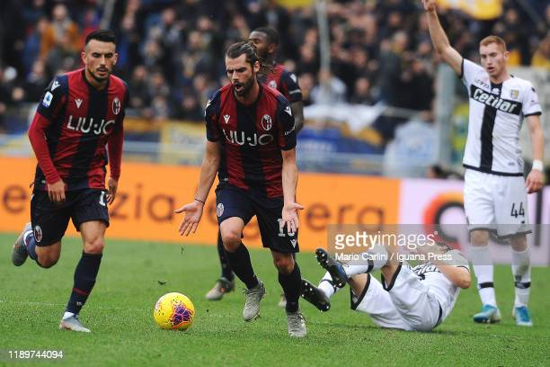 Andrea Poli of Bologna FC reacts during the Serie A match between Bologna FC and Parma Calcio at Stadio Renato Dall'Ara on November 24 2019 in...