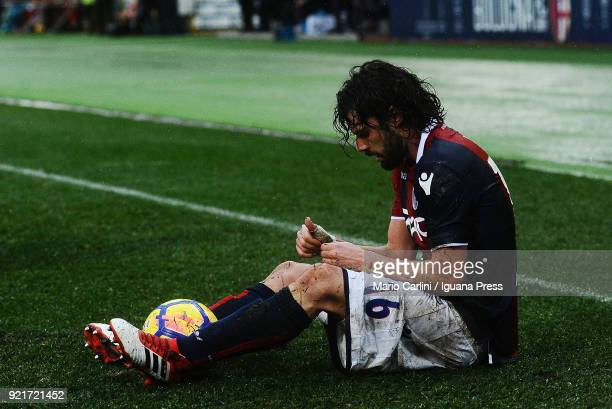 Andrea Poli of Bologna FC reacts during the serie A match between Bologna FC and US Sassuolo at Stadio Renato Dall'Ara on February 18 2018 in Bologna...