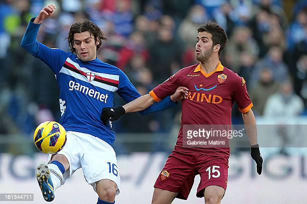 Andrea Poli of UC Sampdoria fights for the ball with Miralem Pjanic of AS Roma during the Serie A match between UC Sampdoria and AS Roma at Stadio...