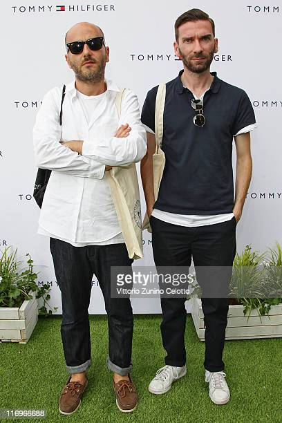 Andrea Porro and Luca Roscini attend Tommy Hilfiger Preppy Pop Up House opening cocktail as part of Milan Fashion Week Menswear Spring/Summer 2012 on...