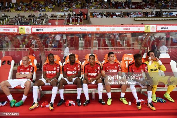 Andrea Raggi Almamy Toure Allan Saint Maximin Youri Tielemans Guido Carrillo Adama Diakhaby and Diego Benaglio of Monaco during the Ligue 1 match...