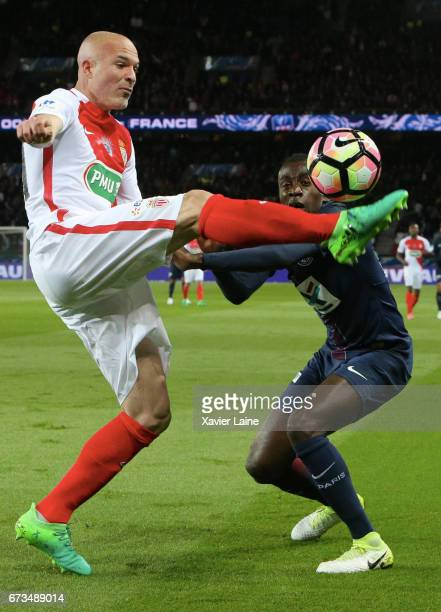 Andrea Raggi of AS Monaco in action with Blaise Matuidi of Paris SaintGermain during the French Cup SemiFinal match between Paris SaintGermain and As...