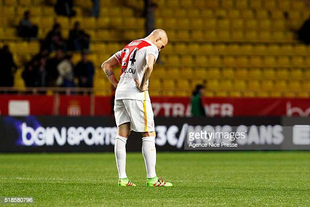 Andrea RAGGI of AS Monaco looks dejected during the French Ligue 1 match between As Monaco and Girondins de Bordeaux at Louis II Stadium on April 1...
