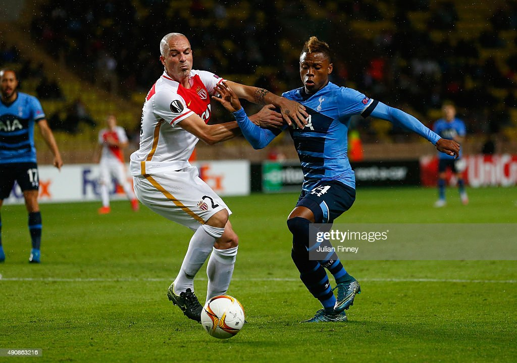 Andrea Raggi of Monaco and Clinton N'Jie of Tottenham Hotspur tussle for the ball during the UEFA Europa League group J match between AS Monaco FC and Tottenham Hotspur FC at Stade Louis II on October 1, 2015 in Monaco, Monaco.