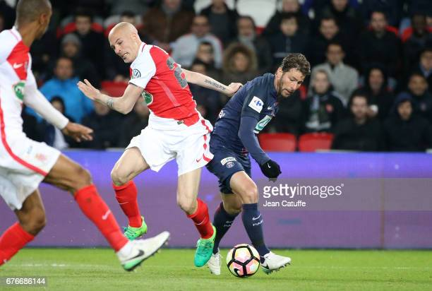 Andrea Raggi of Monaco and Maxwell Scherrer of PSG in action during the French Cup semifinal match between Paris SaintGermain and AS Monaco at Parc...