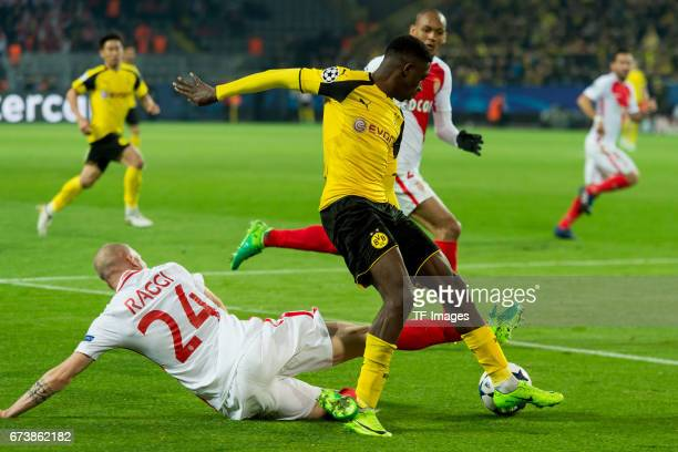 Andrea Raggi of Monaco and Ousmane Dembele of Dortmund battle for the ball during the UEFA Champions League Quarter Final First Leg match between...