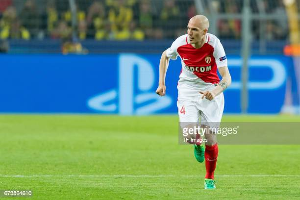 Andrea Raggi of Monaco controls the ball during the UEFA Champions League Quarter Final First Leg match between Borussia Dortmund and AS Monaco at...
