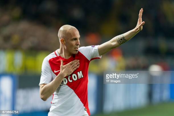 Andrea Raggi of Monaco gestures during the UEFA Champions League Quarter Final First Leg match between Borussia Dortmund and AS Monaco at Signal...