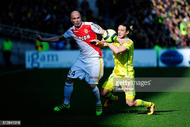 Andrea Raggi of Monaco Guillaume Gillet of Nantes during the French Ligue 1 game between FC Nantes v AS Monaco at Stade de la Beaujoire on February...