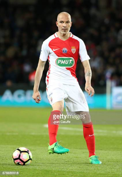 Andrea Raggi of Monaco in action during the French Cup semifinal match between Paris SaintGermain and AS Monaco at Parc des Princes stadium on April...